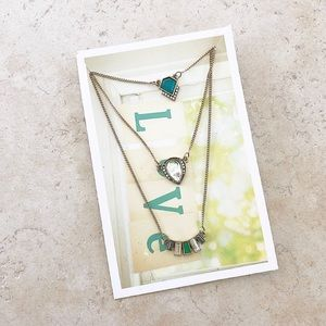 Emerald triple layer necklace